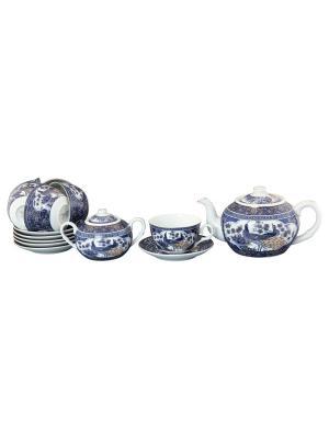 Чайный набор Павлин синий Elan Gallery. Цвет: белый, синий