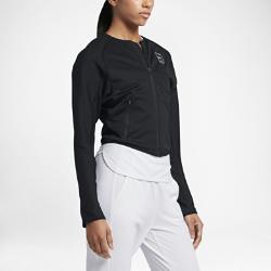 Женская трикотажная теннисная куртка Court Nike. Цвет: черный