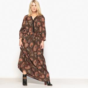 Платье прямое длинное с кашемировым рисунком CASTALUNA. Цвет: рисунок пейсли