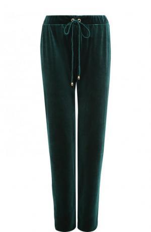 Однотонные бархатные брюки прямого кроя Inna Honour. Цвет: темно-зеленый