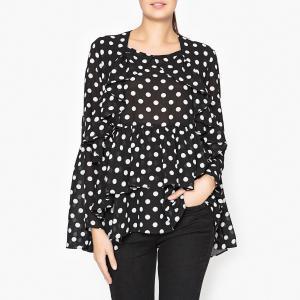 Блузка в горошек SISTER JANE. Цвет: черный/ белый