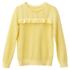 Пуловер из трикотажа с воланами 3-12 лет La Redoute Collections. Цвет: желтый