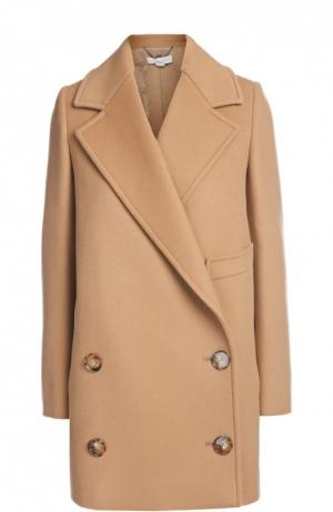 Двубортное пальто прямого кроя с широкими лацканами Stella McCartney. Цвет: бежевый