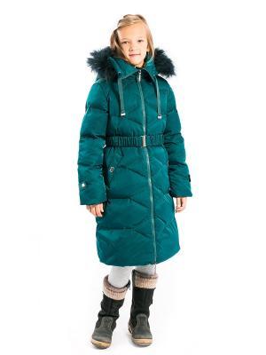 Пальто Есения пуховое Аксарт. Цвет: темно-зеленый