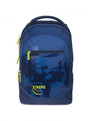 Рюкзак Style Extreme 42*30*20см, 3 отделения, кармана, эргономичная спинка Berlingo. Цвет: синий, желтый
