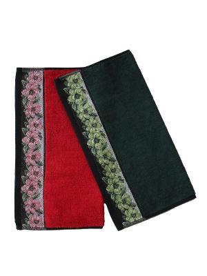 Набор полотенец, 2штуки Dream time. Цвет: красный, темно-зеленый, черный