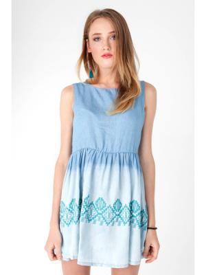 Ms Платье Monoroom с ацтекским принтом голубым