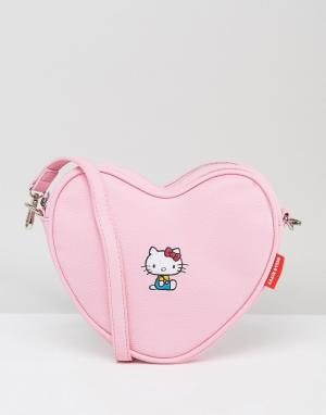 Lazy Oaf Сумка через плечо в форме сердца с вышивкой x Hello Kitty. Цвет: розовый
