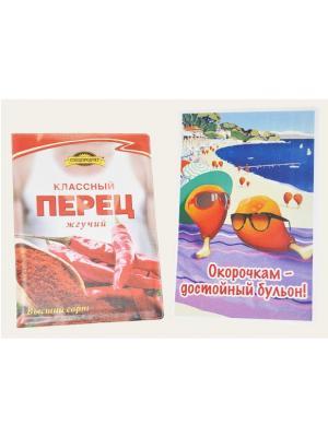 Набор: Обложка на паспорт Классный Перец и Магнит Достойный бульон Бюро находок. Цвет: красный