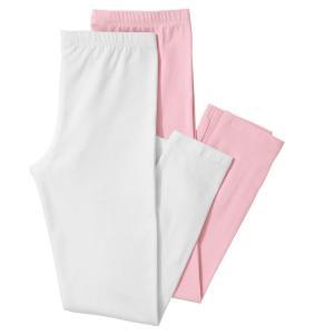 Комплект из 2 длинных однотонных леггинсов, 3-12 лет R édition. Цвет: белый + светло-розовый,серый меланж + черный,черный + белый