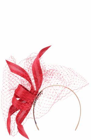 Вечерняя шляпа с декором и кружевом Philip Treacy. Цвет: красный