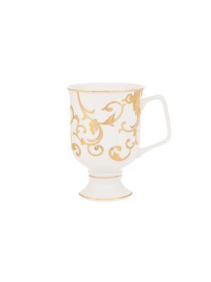 Кружка для капучино и кофе латте Королевский узор Elan Gallery. Цвет: белый, золотистый