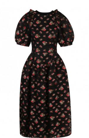 Приталенное платье-миди с объемными рукавами Simone Rocha. Цвет: черный