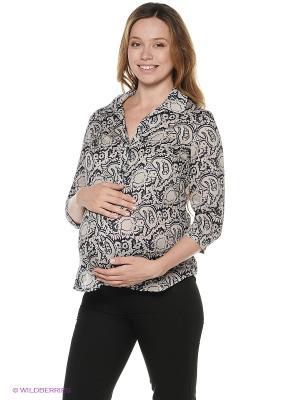 Блузка для беременных impressmama. Цвет: темно-синий, бежевый