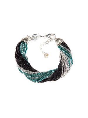 Браслет бисерный, 24 нитей, цвет 13 Bottega Murano. Цвет: черный, зеленый, серебристый