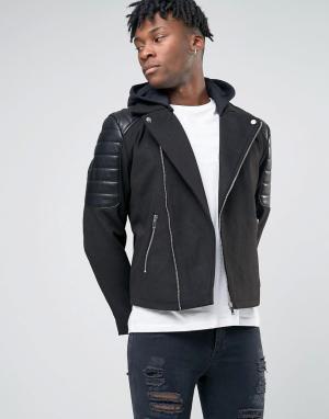 BL7CK Байкерская куртка из искусственной кожи. Цвет: черный