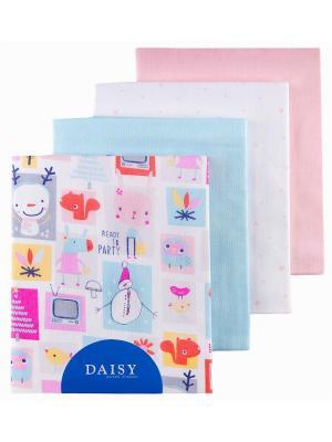 Пеленка Мультяшки, 4 шт. DAISY. Цвет: светло-голубой, бледно-розовый, розовый