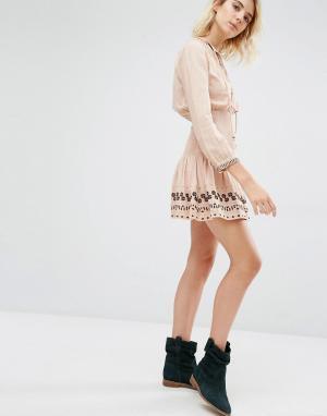 Gat Rimon Бледно-розовое платье с присборенной талией Nabi Boho. Цвет: розовый