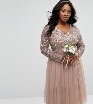 Lovedrobe Luxe Платье миди с длинными рукавами и V-образным вырезом. Цвет: серый