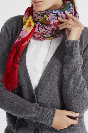 Платок из шерсти и шелка Gucci. Цвет: multicolor