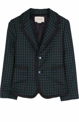 Однобортный пиджак из шерсти в клетку Gucci. Цвет: зеленый