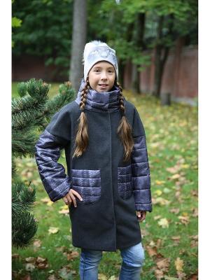 Пальто с жилетом MARIELA. Цвет: темно-серый