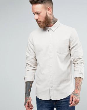 Hoxton Shirt Company Рубашка узкого кроя из саржи с начесом. Цвет: кремовый