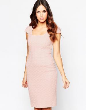Hybrid Платье миди с вышивкой ришелье. Цвет: кремовый