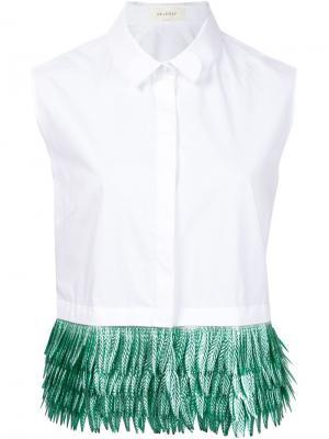 Блузка без рукавов с контрастным подолом Delpozo. Цвет: белый