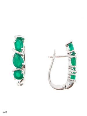 Серьги Митра Ювелир. Цвет: зеленый, серебристый