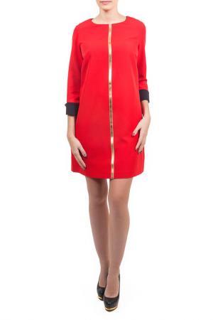 Свободное платье с рукавами 3/4 Piena. Цвет: красный