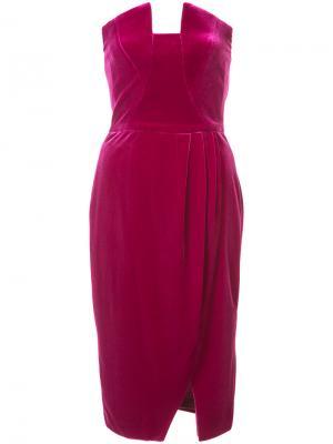 Драпированное бархатное платье Black Halo. Цвет: розовый и фиолетовый