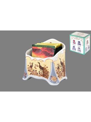 Подставка сервировочная для чайных пакетиков Павлин на бежевом Elan Gallery. Цвет: белый, серый, бежевый