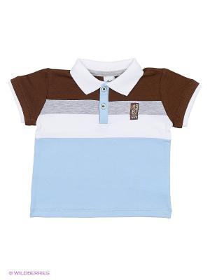 Футболка-поло Wojcik. Цвет: голубой, коричневый