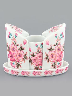 Вазочка под зубочистки и набор для специй Сакура Elan Gallery. Цвет: белый, розовый