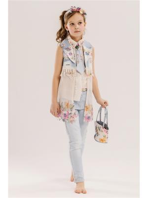 Комплект детский: блузка, туника, джинсы, ободок, галстук, сумочка Baby Steen. Цвет: голубой, бежевый, розовый