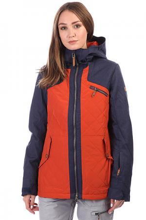 Куртка утепленная  Journey Rooibos Tea Roxy. Цвет: оранжевый,синий