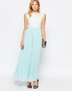 Club L Платье макси с кружевным топом и шифоновой юбкой. Цвет: зеленый