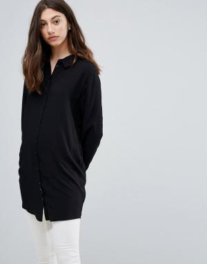 Pieces Длинная свободная рубашка Muzma. Цвет: черный