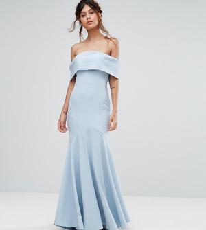 Jarlo Платье макси с лифом-бандо и асимметричным краем. Цвет: синий