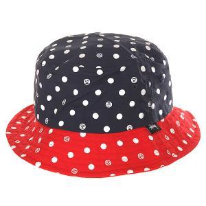 Панама женская  Dot Bucket Hat Navy Stussy. Цвет: синий,красный,белый