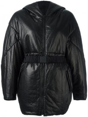 Объемная куртка с поясом Ahirain. Цвет: чёрный
