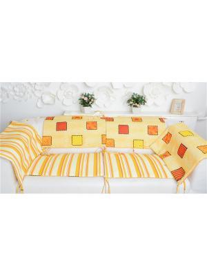 Бортики в кроватку Печеньки Ням-Ням. Цвет: коричневый, молочный, красный, оранжевый, горчичный, желтый