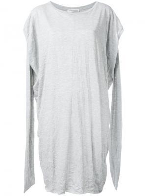 Slit arms jersey dress Stefano Mortari. Цвет: серый