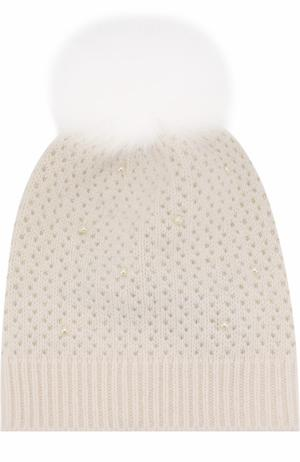 Шерстяная вязаная шапка с меховым помпоном и декором Yves Salomon Enfant. Цвет: белый