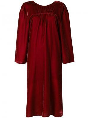 Платье со сборками Push Button. Цвет: красный