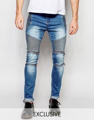 Liquor & Poker Узкие байкерские джинсы из синего стираного денима. Цвет: синий
