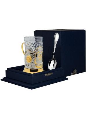 Набор для чая Юбилейный 45 (подстаканник+стакан+серебряная ложка)+футляр АргентА. Цвет: серебристый, золотистый