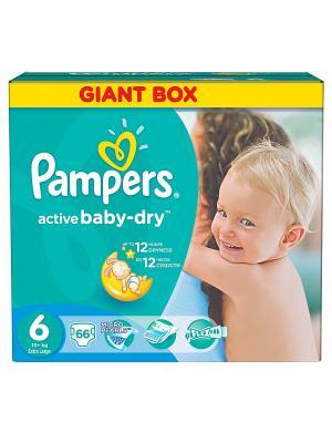 Подгузники Active Baby-Dry 15+ кг, 6 размер, 66 шт. Pampers. Цвет: зеленый