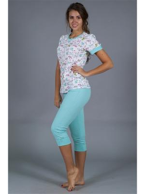 Пижама ОДДИС®. Цвет: белый, светло-зеленый